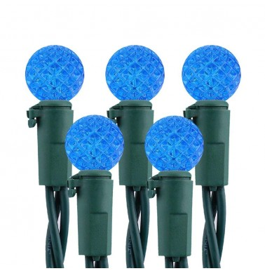Faceted G10 50LED String Lights 120V UL Certified Blue