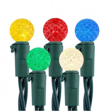 Faceted G10 50LED String Lights 120V UL Certified Multi Color