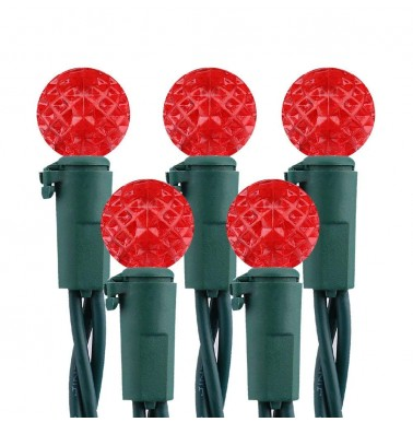 Faceted G10 50LED String Lights 120V UL Certified Red