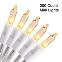 300 Count 66ft Christmas Lights White Wire Warm White