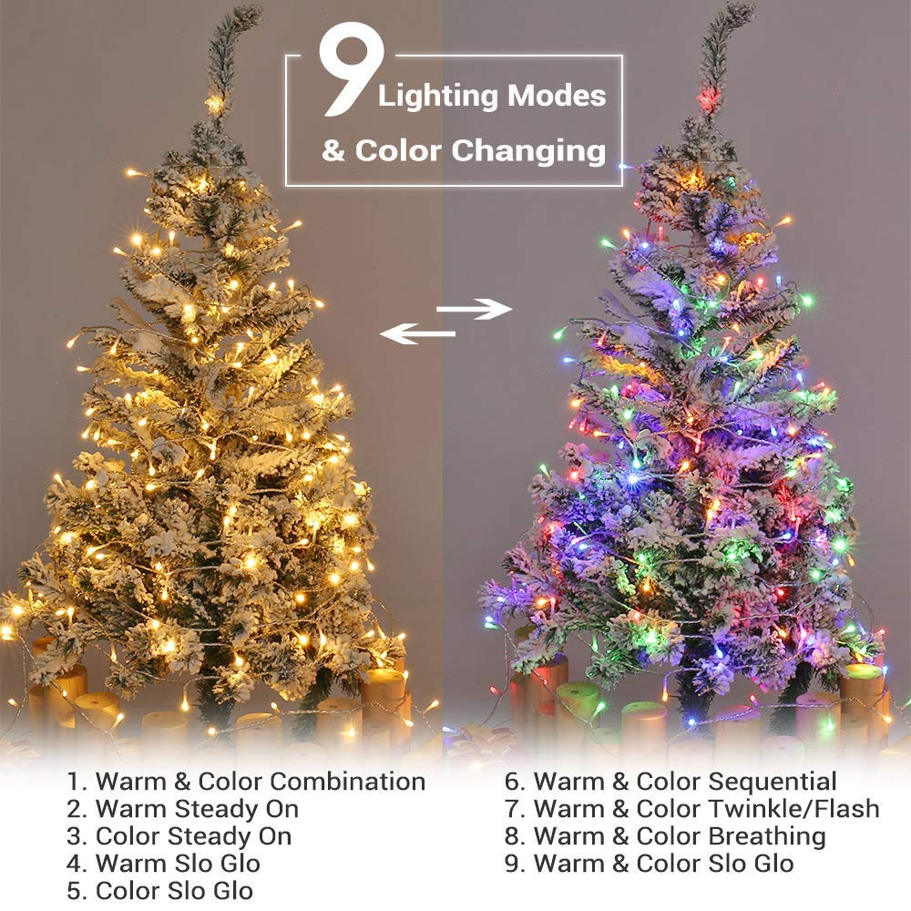 82ft 200 LED 9-Function Color Changing Warm White Multi ...